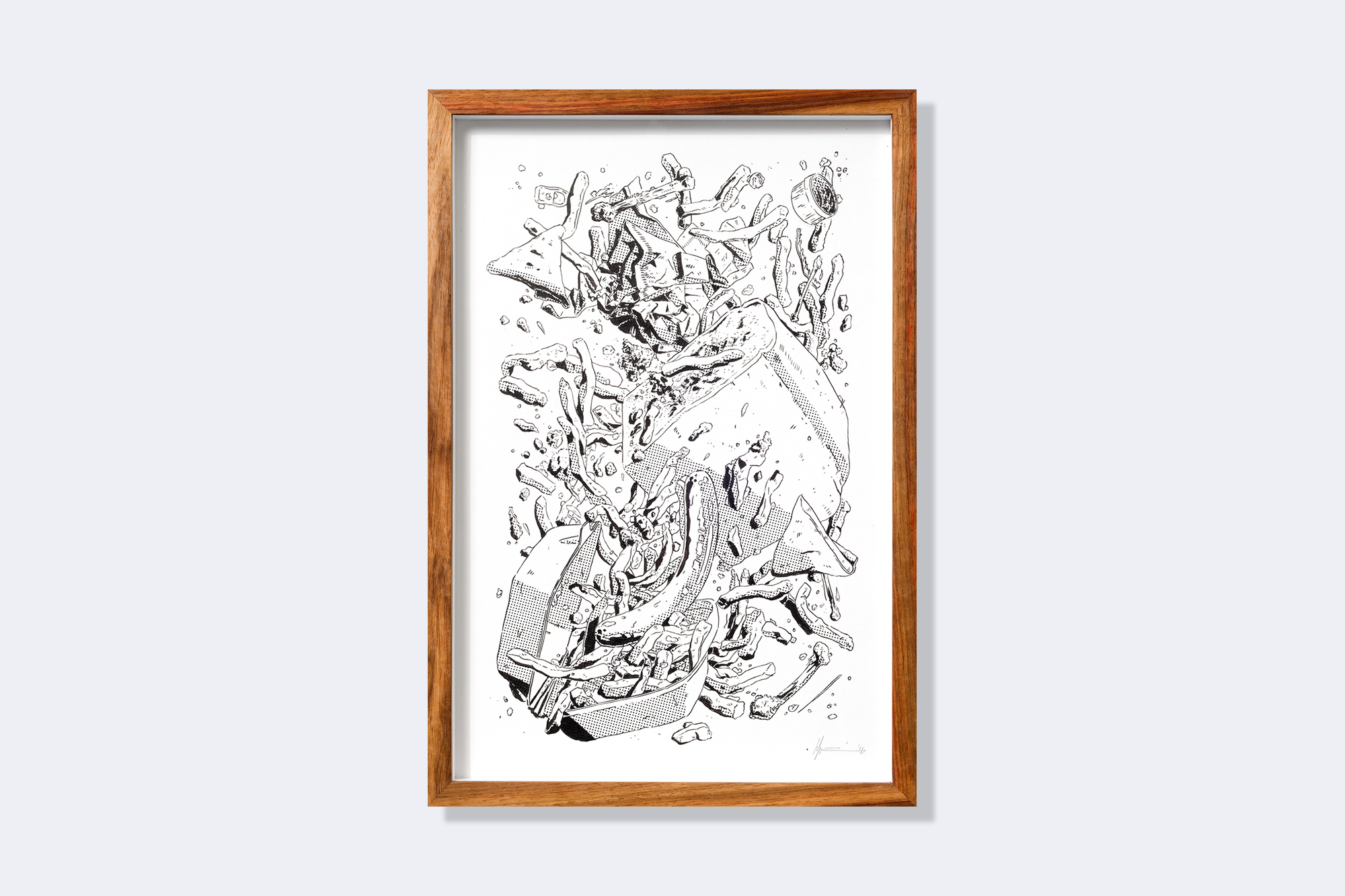 HANNO VAN ZYL. Hot Chips, 2016. Brush, ink, silkscreen monoprint. 445 x 305mm. Framed copy